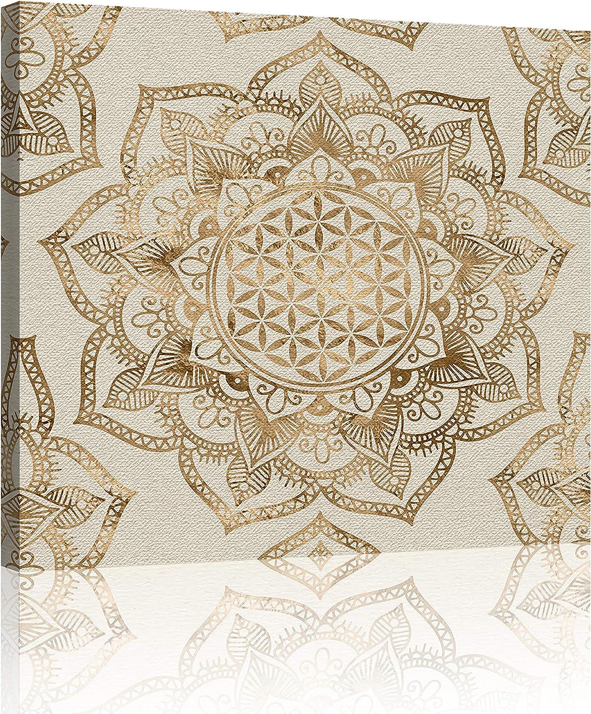 Oiney Gold Bohemian Mandala Abstract Canvas Wall Art Square Canvas Boho Flower Modern Wall Art Decor for Home,Office,Hotel