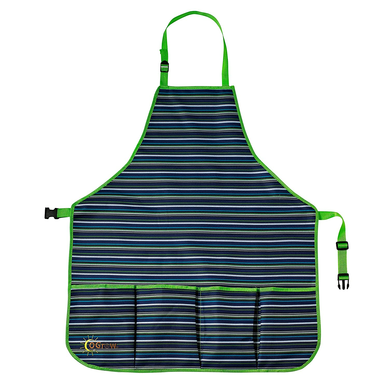 Ogrow Kids Garden Tool Apron with Adjustable Neck and Waist Belts, Blue Striped