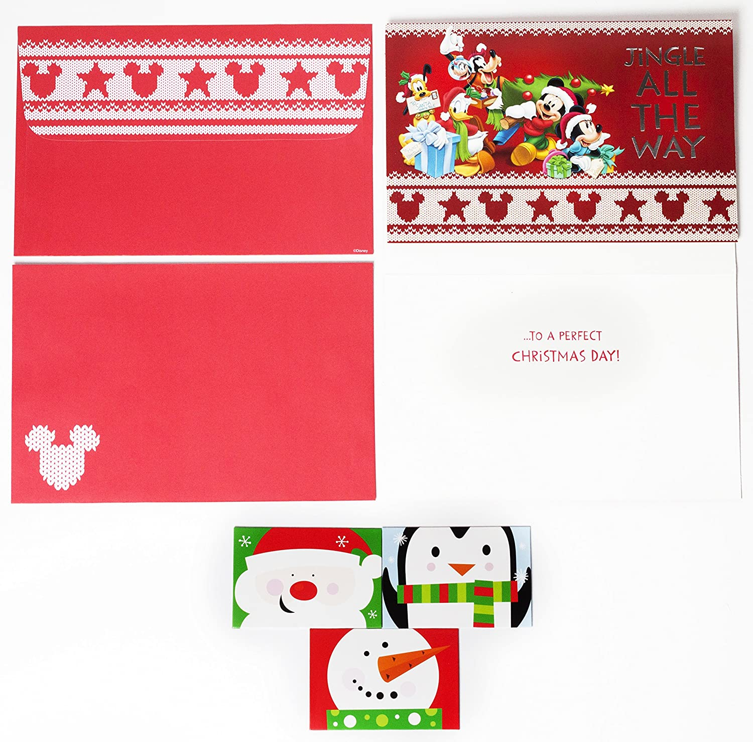 Disney mickey mouse christmas cards box set of 18 holiday greeting disney mickey mouse christmas cards box set of 18 holiday greeting cards with self sealing envelopes and 3 gift card holders amazon office products kristyandbryce Choice Image