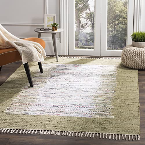 Safavieh Montauk Collection MTK711K Handmade Flatweave Ivory and Olive Cotton Area Rug 5 x 8