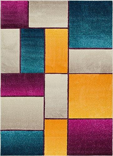 Well Woven Cream Saree Modern Geometric Squares 7 10 x 9 10 Area Rug