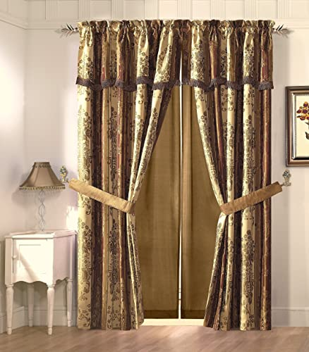 Cozy Beddings Vintage Stripe 2-Panel Floral Design Jacquard Window Curtain Set 54 x 84 18 , Gold Burgundy