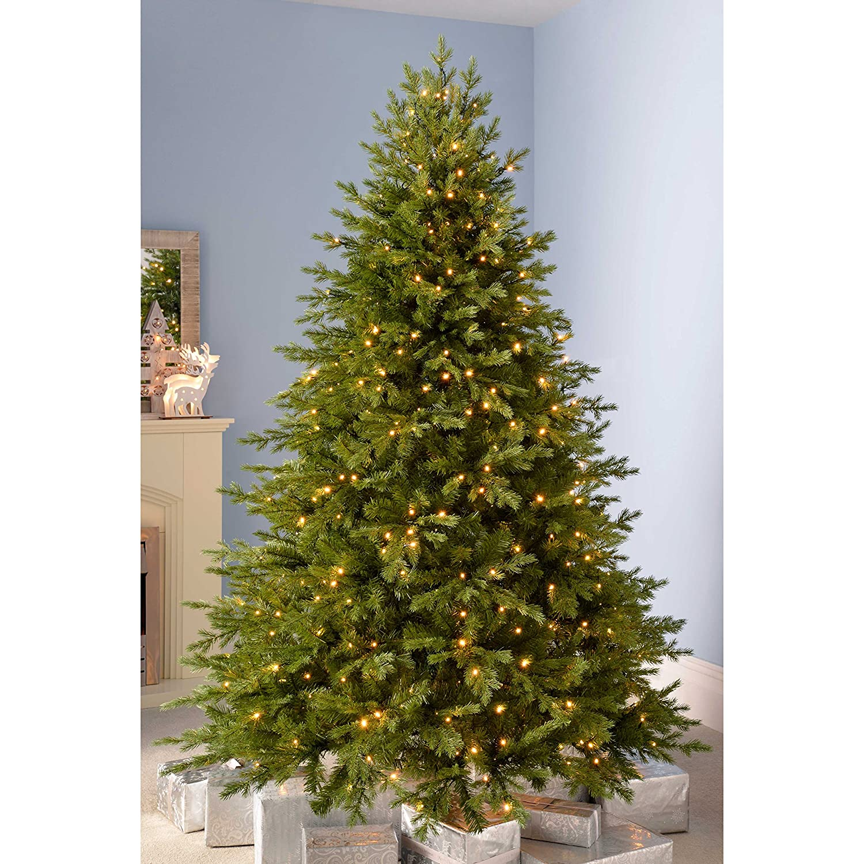 Werchristmas Pre Lit Grand Alaskan Fir Multi Function Christmas Tree With 300 Led