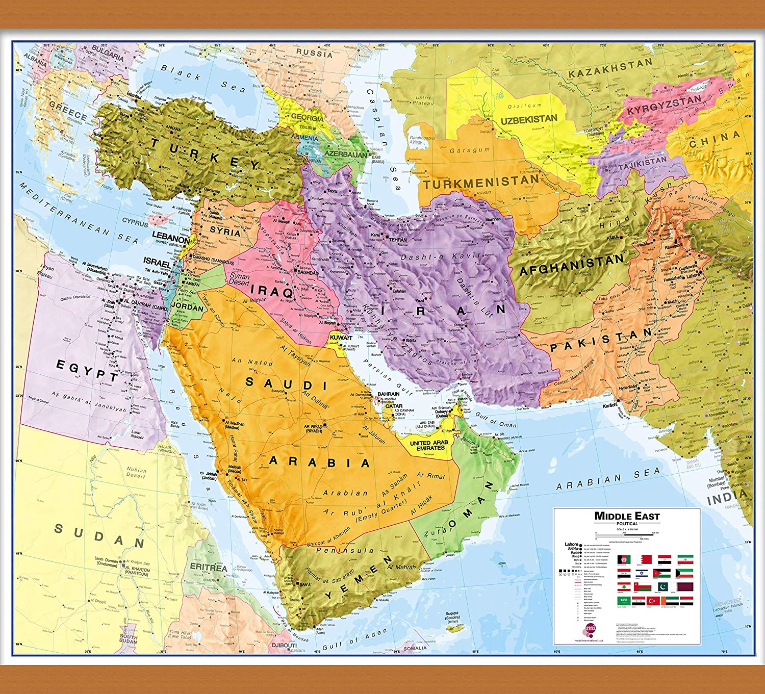 Maps International Medium Political Middle East Wall Map - Paper - 33 x 27  1/2 33,
