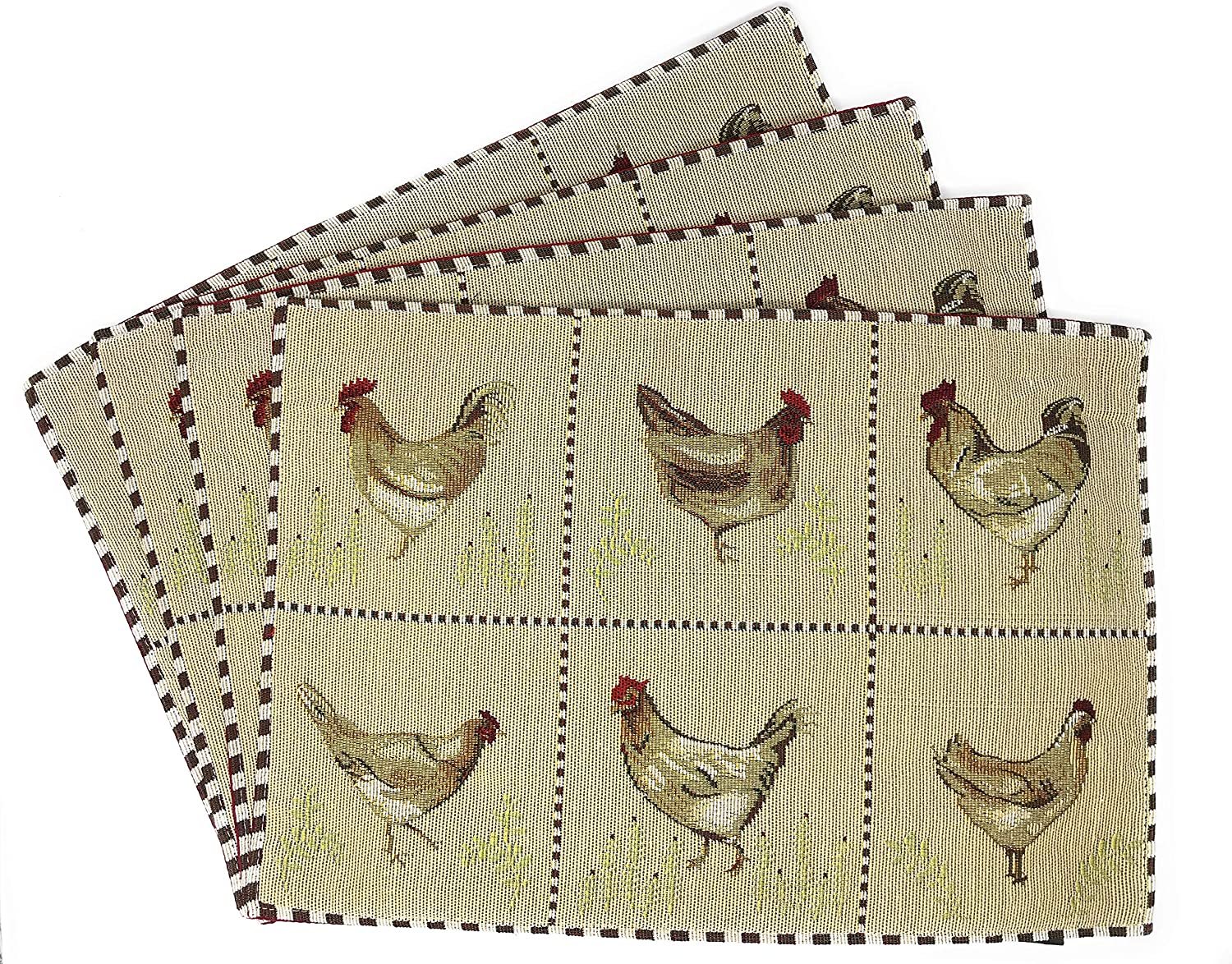 """Tache Country Farmhouse Rooster Hens Chickens Antique Vintage Traditional Home Beige Decorative Woven Tapestry Placemats, 13x19"""""""