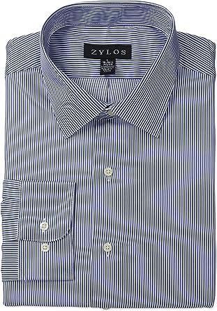 Zylos - Camisa de Vestir para Hombre, Cuello Abierto, a Rayas, Ajuste a Medida