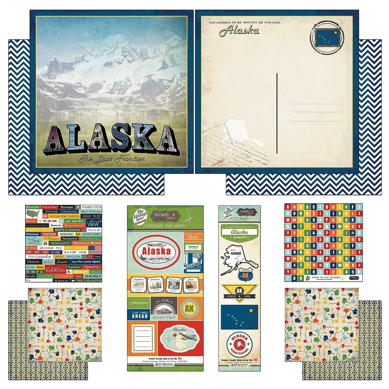 Amazon Scrapbook Customs Themed Paper And Stickers Kit Alaska Vintage