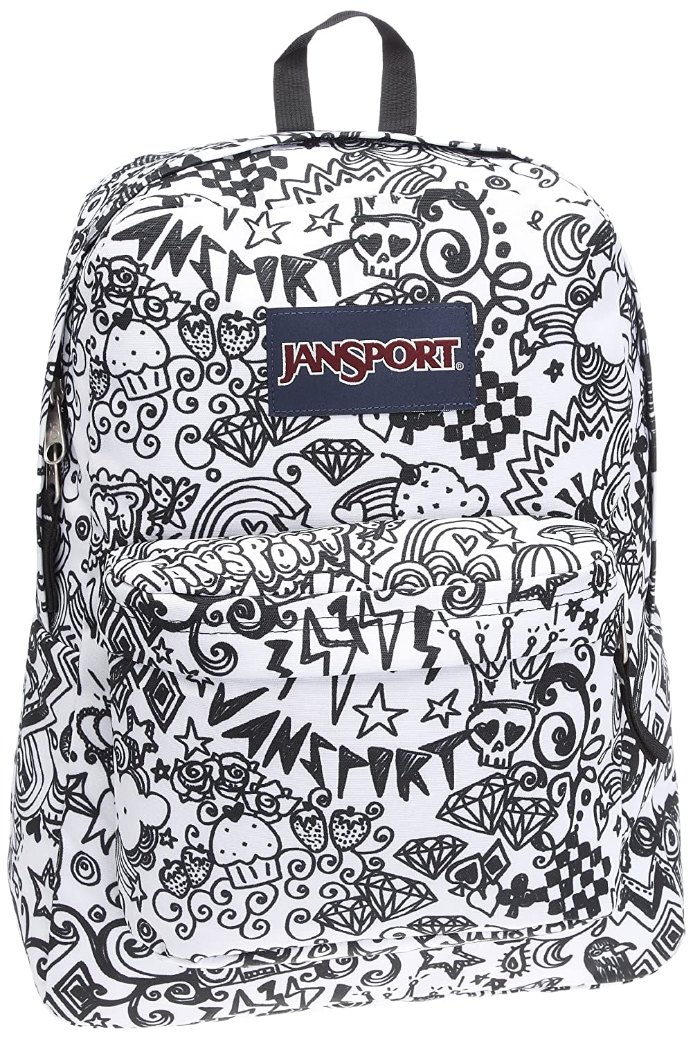 JanSport Classic SuperBreak Backpack, Black/White Doodle: Amazon ...