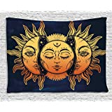 Psychedelic Tapestry by Ambesonne, Moon and Sun with Many Fractal Faces Celestial Energy Mystic Art Print, Wall Hanging for Bedroom Living Room Dorm, 80 W X 60 L Inches, Golden Dark Blue