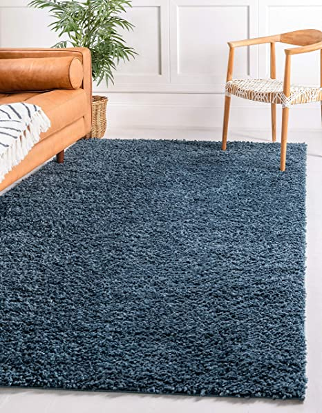 Amazon Com Unique Loom Davos Shag Collection Contemporary Soft Cozy Solid Shag Marine Blue Area Rug 5 0 X 8 0 Furniture Decor