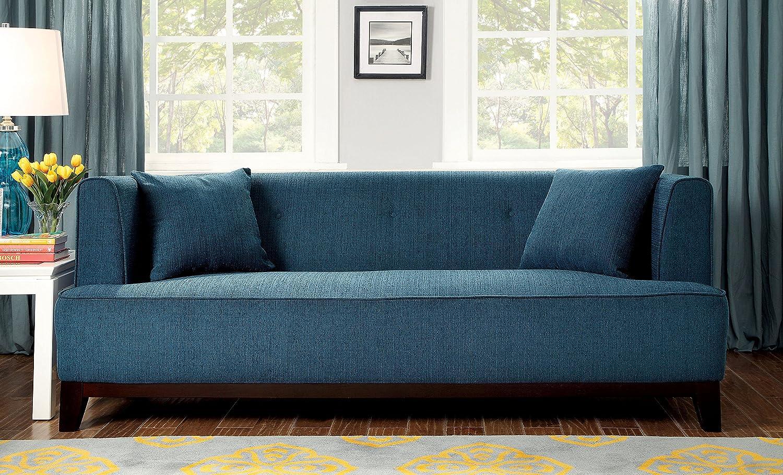 Amazon.com: Furniture Of America Elsa Neo Retro Sofa, Teal: Kitchen U0026 Dining