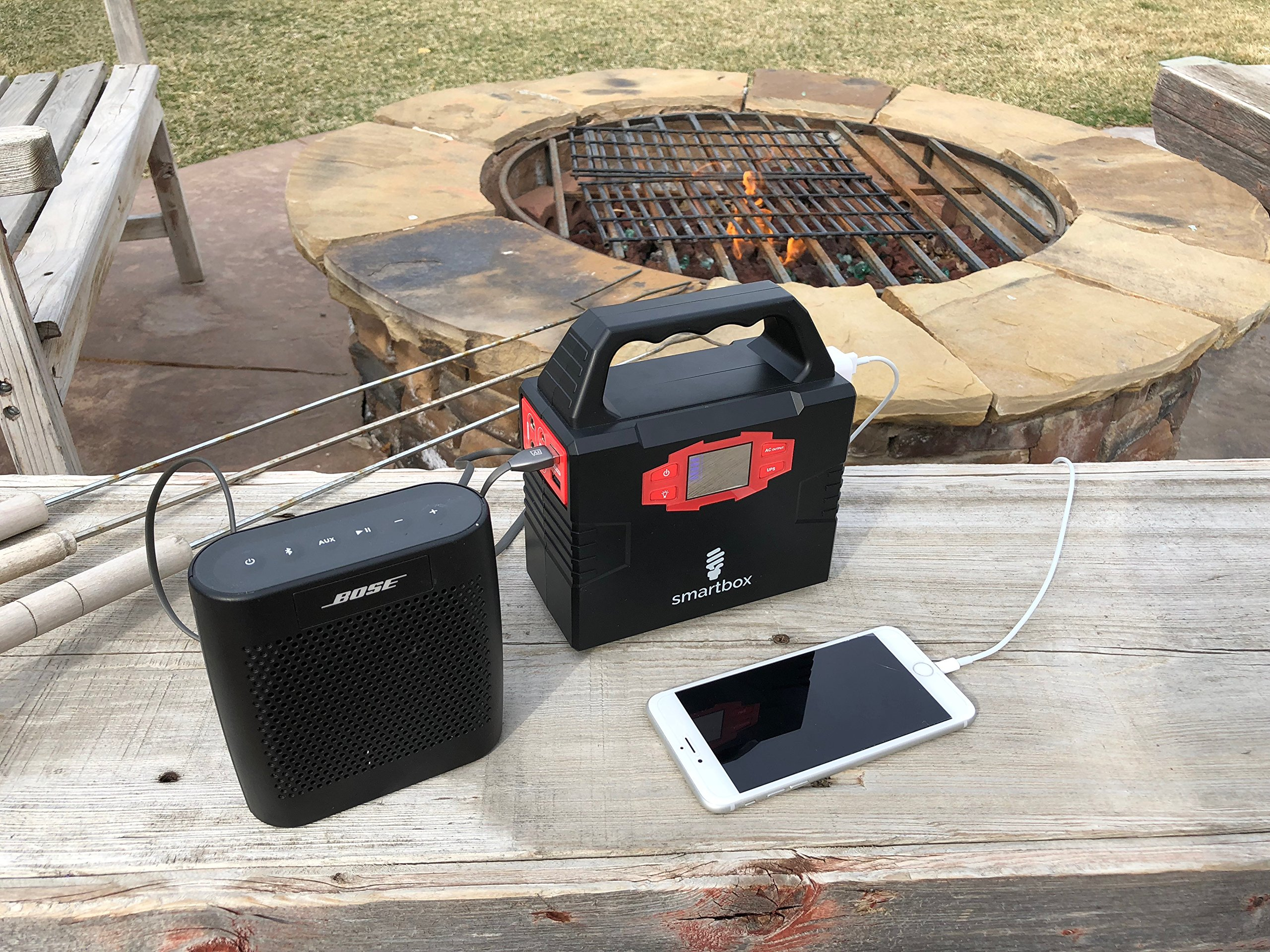 Smartbox Powerful Solar Generator -Portable Power Charging Station With Multiple USB & AC Outlets-100-Watt Emergency Solar Battery Charger With Ultra-Bright LED Light For Outdoor Activities by Smart Box (Image #4)