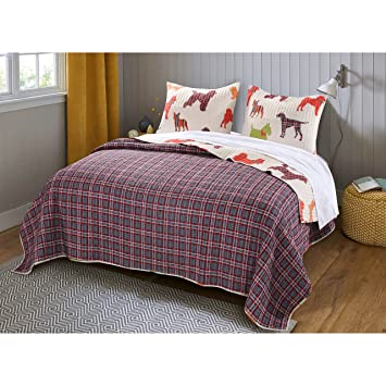 Amazon 3 Piece Off White Dog Themed Quilt King Set Multi Color