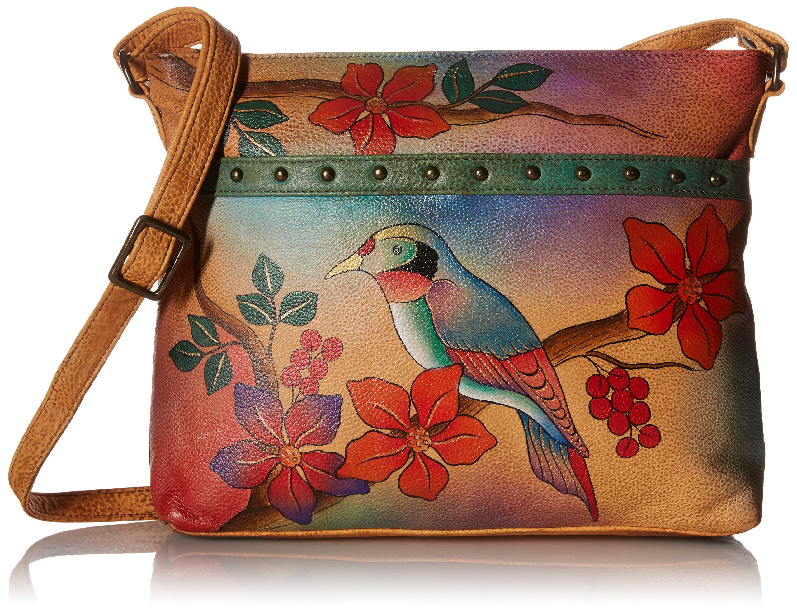 Anuschka Anna by Handpainted Leather Medium Organizer Body, Bird on Branch