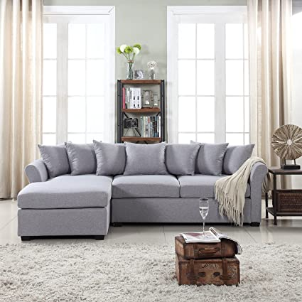Divano Roma Furniture Modern Large Linen Fabric Sectional Sofa, L-Shape Couch with Extra Wide Chaise Lounge (Grey)