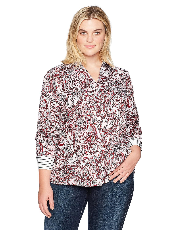 Foxcroft Womens Plus-Size Plus-Size Long Sleeve Lauren Romantic Paisley Shirt 181525