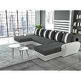 Canapé d'angle en U convertible TIGER tissu gris et simili cuir blanc