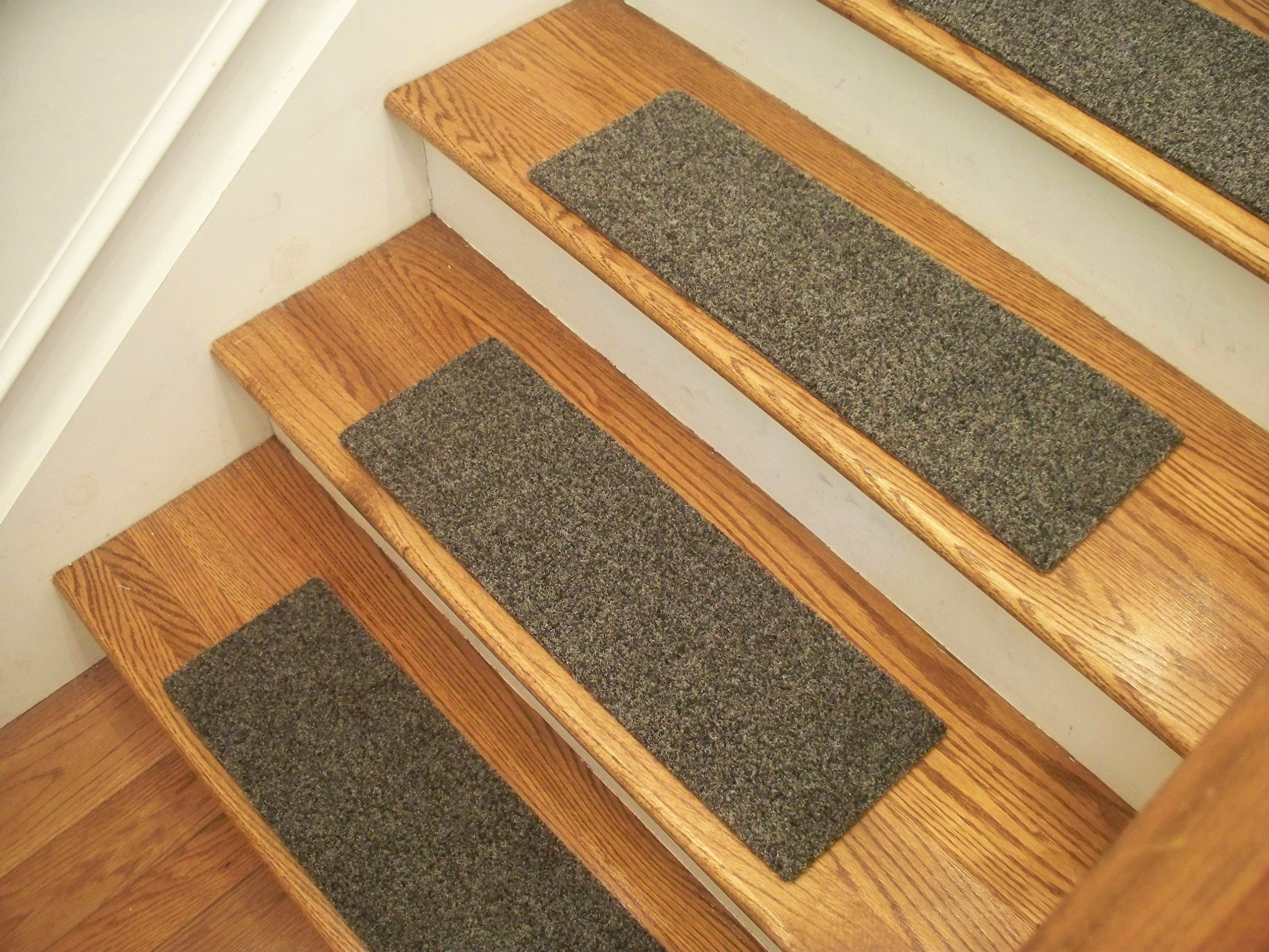 Essential Carpet Stair Treads - Style: Brush - Color: Graphite Gray - Size: 24'' x 8'' - Set of 4