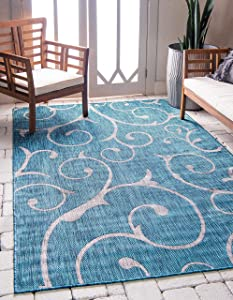 Unique Loom Outdoor Botanical Collection Vine Floral Transitional Indoor and Outdoor Flatweave Teal Area Rug (4' 0 x 6' 0)