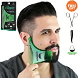 BEARDMAN - Beard Shaping Tool - 6 in 1 Multi-liner Beard Shaper Template Comb Kit Transparent - Bonus Items Included - Works with any Beard Razor Electric Trimmers or Clippers - (Clear Green)
