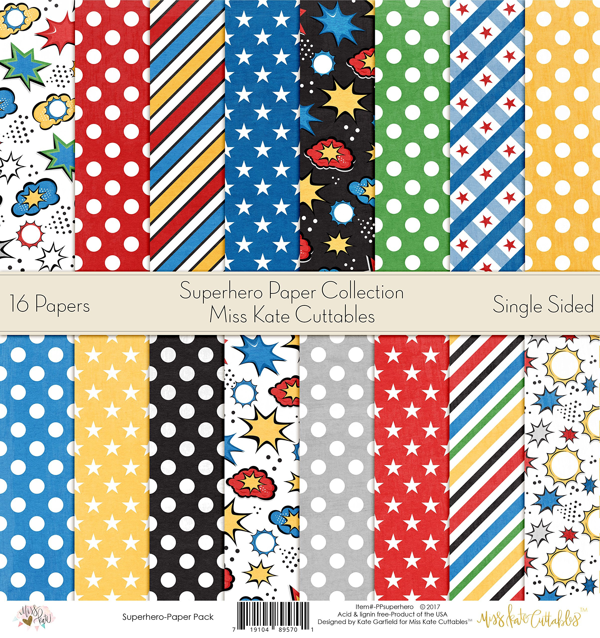 Pattern Paper Pack - Superhero - Scrapbook Card Stock Single-Sided 12''x12'' Collection Includes 16 Sheets - by Miss Kate Cuttables