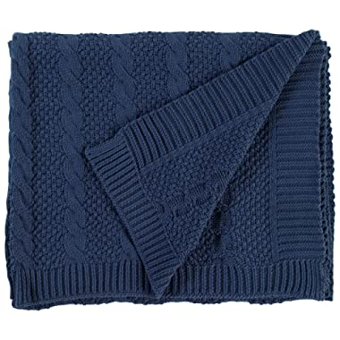 Stone & Beam Transitional Chunky Cable Knit Throw, 70  x 40 , Indigo