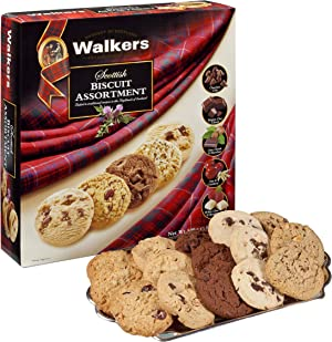 Contains an assortment of Scottish cookies, like oat & cranberry, Belgian chocolate, white chocolate raspberry, and more.