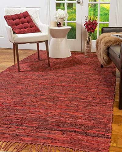 Natural Area Rugs Handmade Reversible Contemporary Limassol Leather Rug 5' x 8' Red