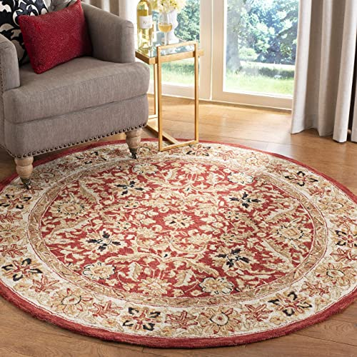 Safavieh Chelsea Collection HK157A Hand-Hooked Red and Ivory Premium Wool Round Area Rug 8 Diameter