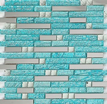 hominter 11 sheets aqua backsplash tile for kitchen bathroom shower and accent walls silver stainless steel glass rhinestone mosaic mirrored