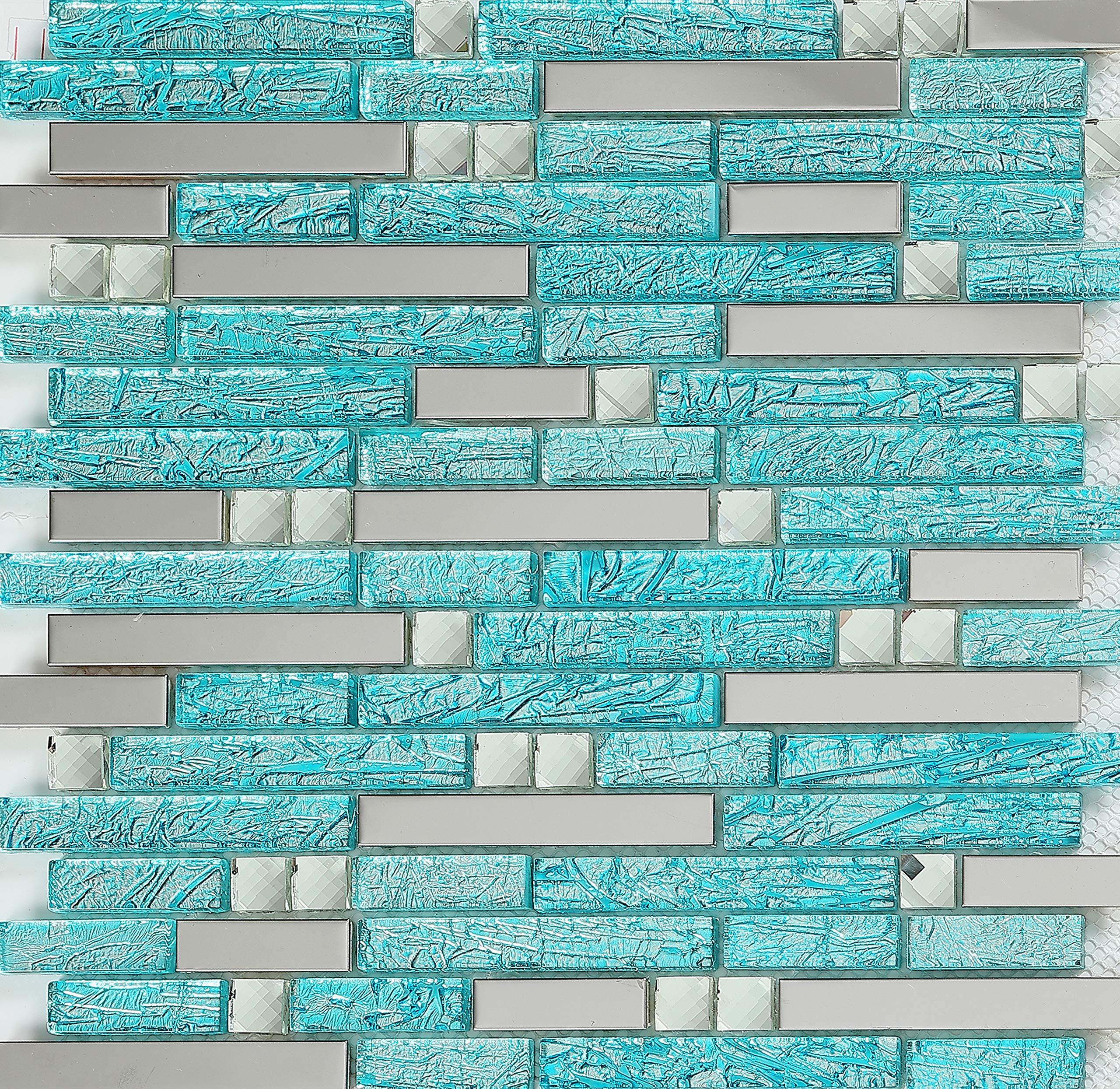 Hominter H20 Aqua Backsplash Tile for Kitchen, Bathroom, Shower and Accent Walls, Silver Stainless Steel & Glass Rhinestone Mosaic, Mirrored Metal Wall Back Splash Interlocking Pattern Cover 11 Sq Ft