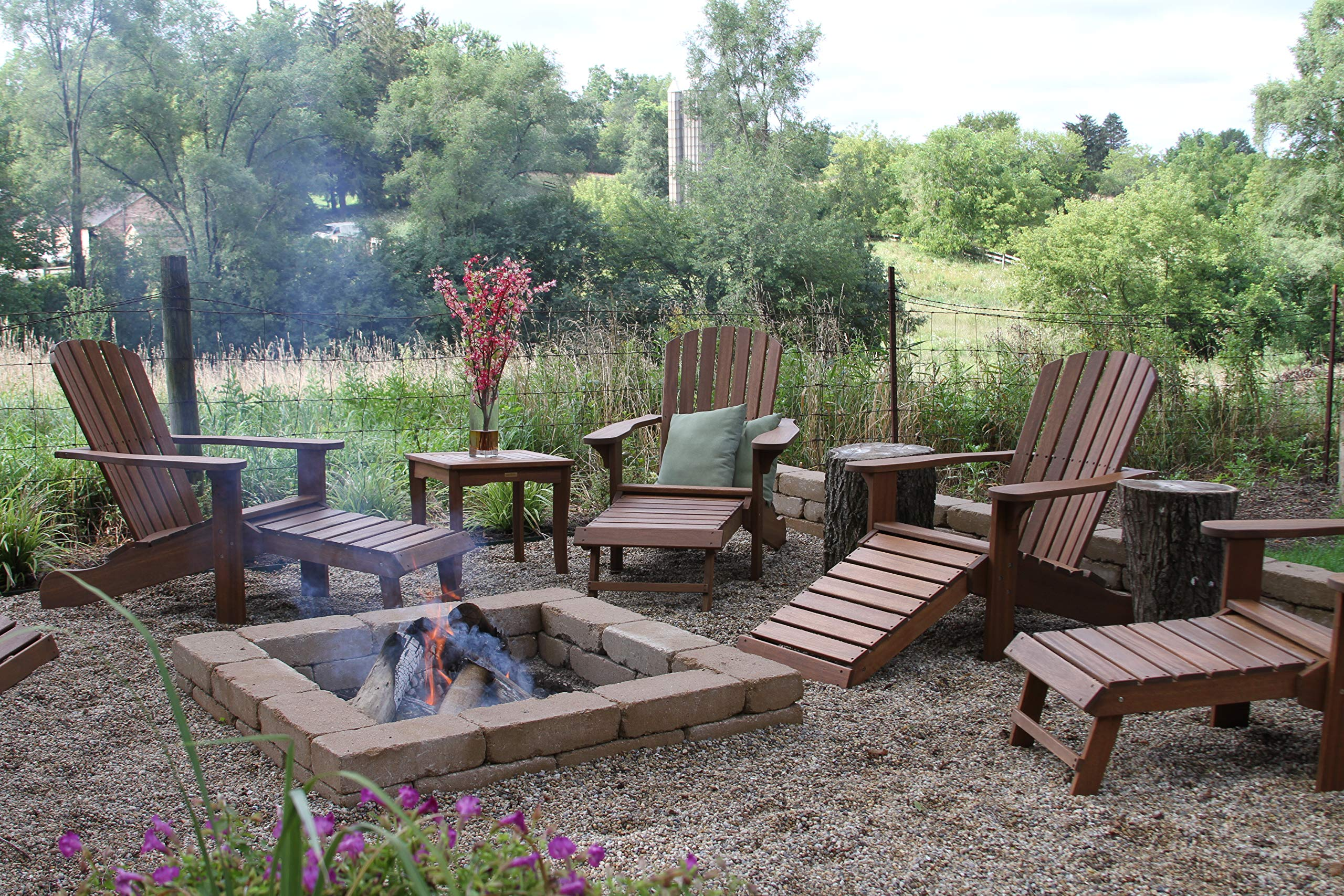 Outdoor Interiors CD3111 Eucalyptus Adirondack Chair and Built In Ottoman by Outdoor Interiors (Image #8)