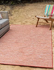 Unique Loom Outdoor Patio Collection Modern Casual Indoor and Outdoor Transitional Indoor and Outdoor Flatweave Terracotta Area Rug (7' 5 x 10' 0)