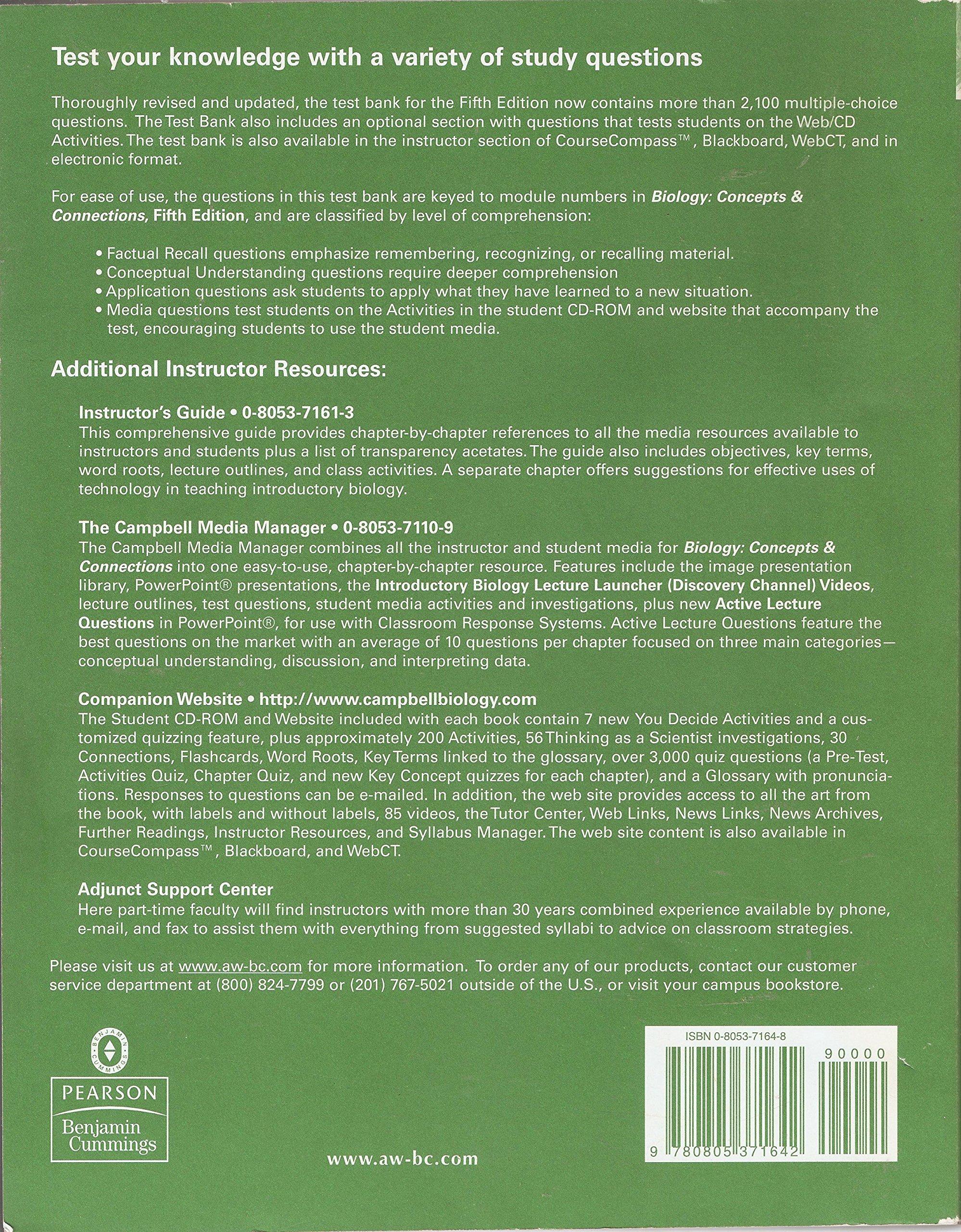 Biology Concepts & Connections (TEST BANK): EDWARD J. ZALISKO:  9780805371642: Amazon.com: Books