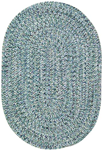 Capel Rugs Sea Pottery Oval Braided Area Rug, 4 x 6 , Blue