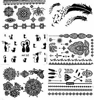 Amazon Com Black Henna Body Paints Temporary Tattoo Designs Pack