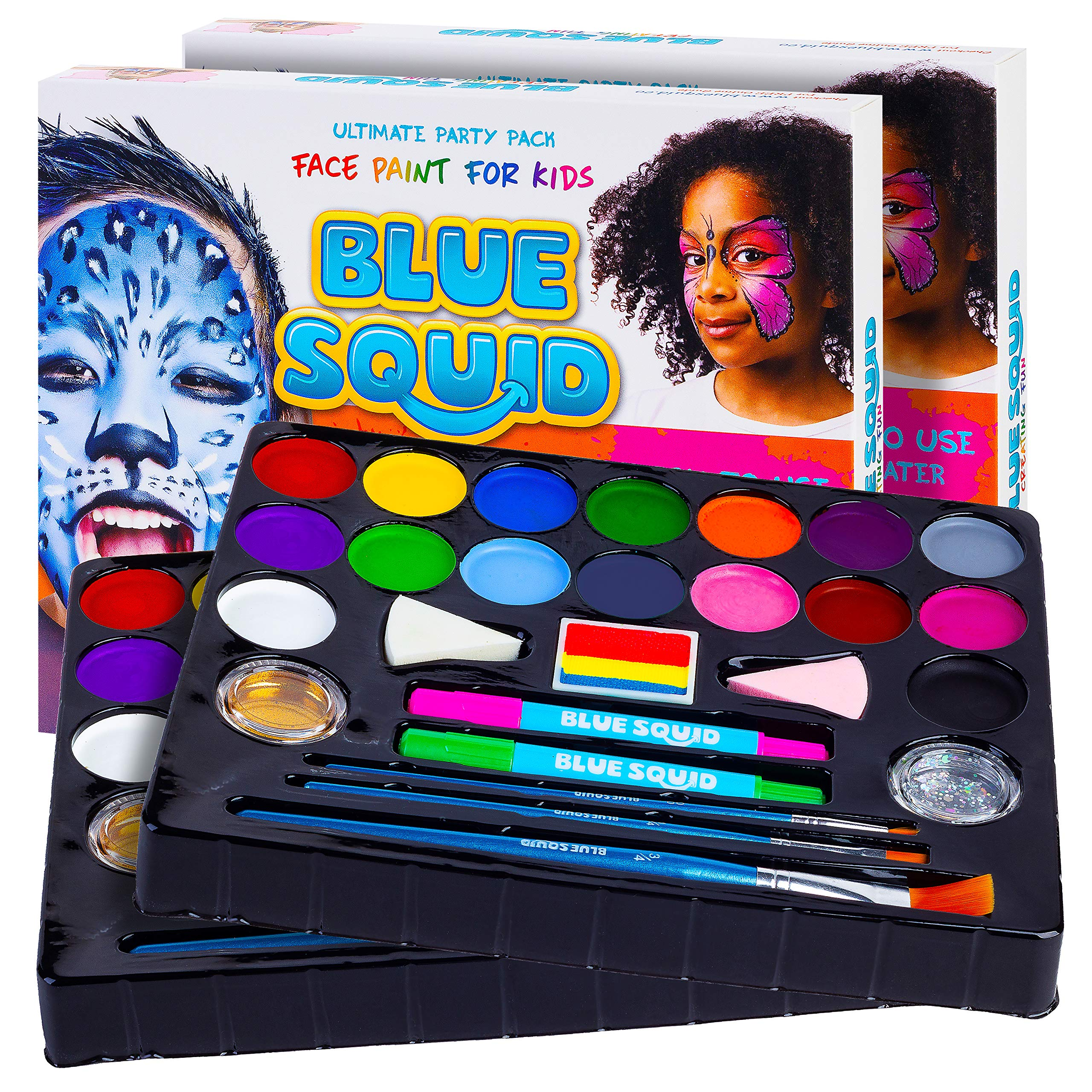 Face Paint Kit for Kids - Jumbo Stencils, 16 Large Paints, Rainbow Cake, 168 Gems, 2 Hair Chalk Pens 3 Professional Brushes 2 Glitter Quality Body Painting Set Halloween Makeup Skin Safe (2 Pack) by Blue Squid