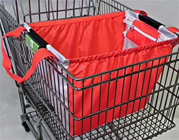 Amazon.com: Trolly Shopping Cart Bag, with Universal Clip, Red ...