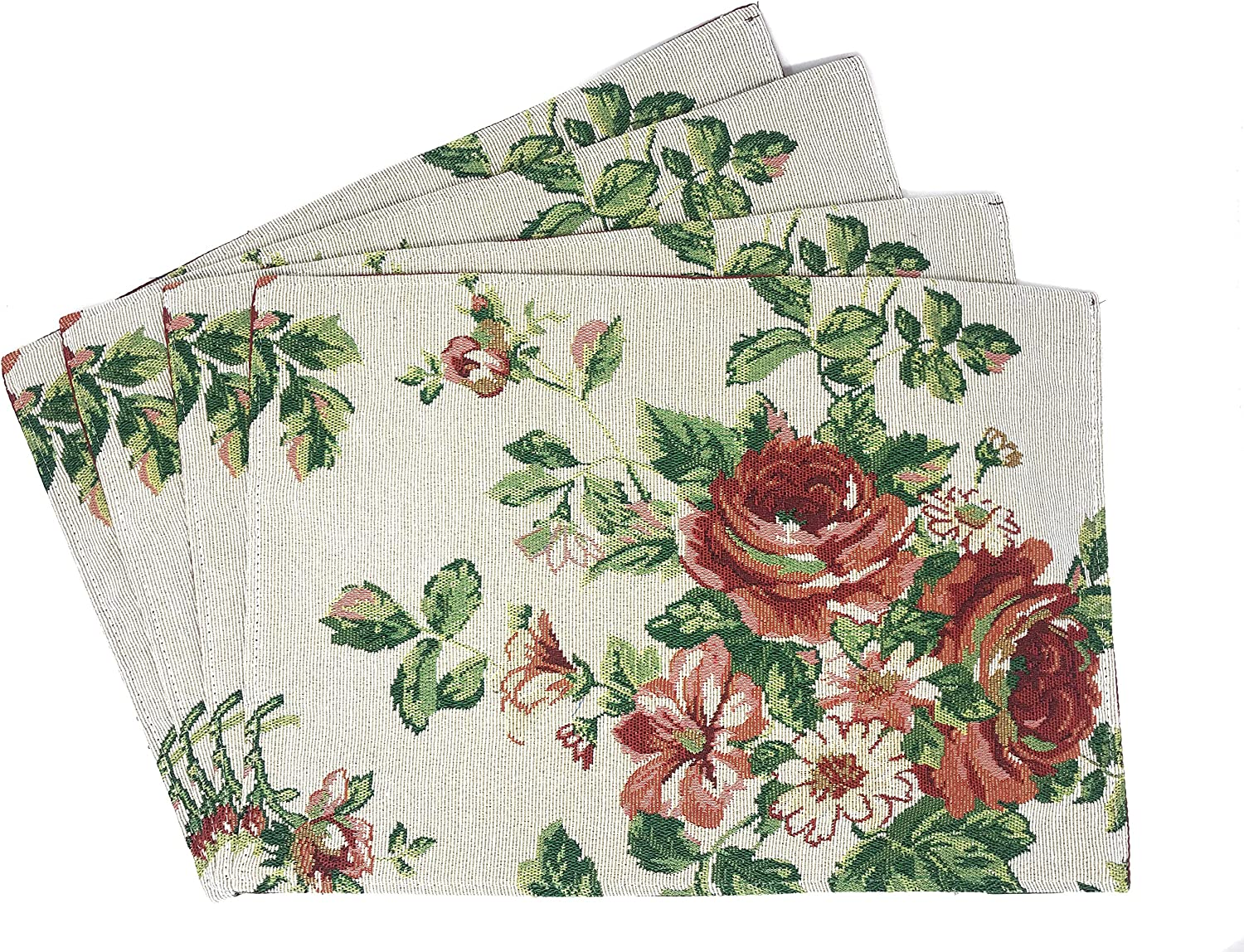 Tache Home Fashion Sweet Roses Spring Summer Traditional Country Vintage White Red Floral Decorative Woven Quilted Kitchen Tapestry Placemats, 13 x 19