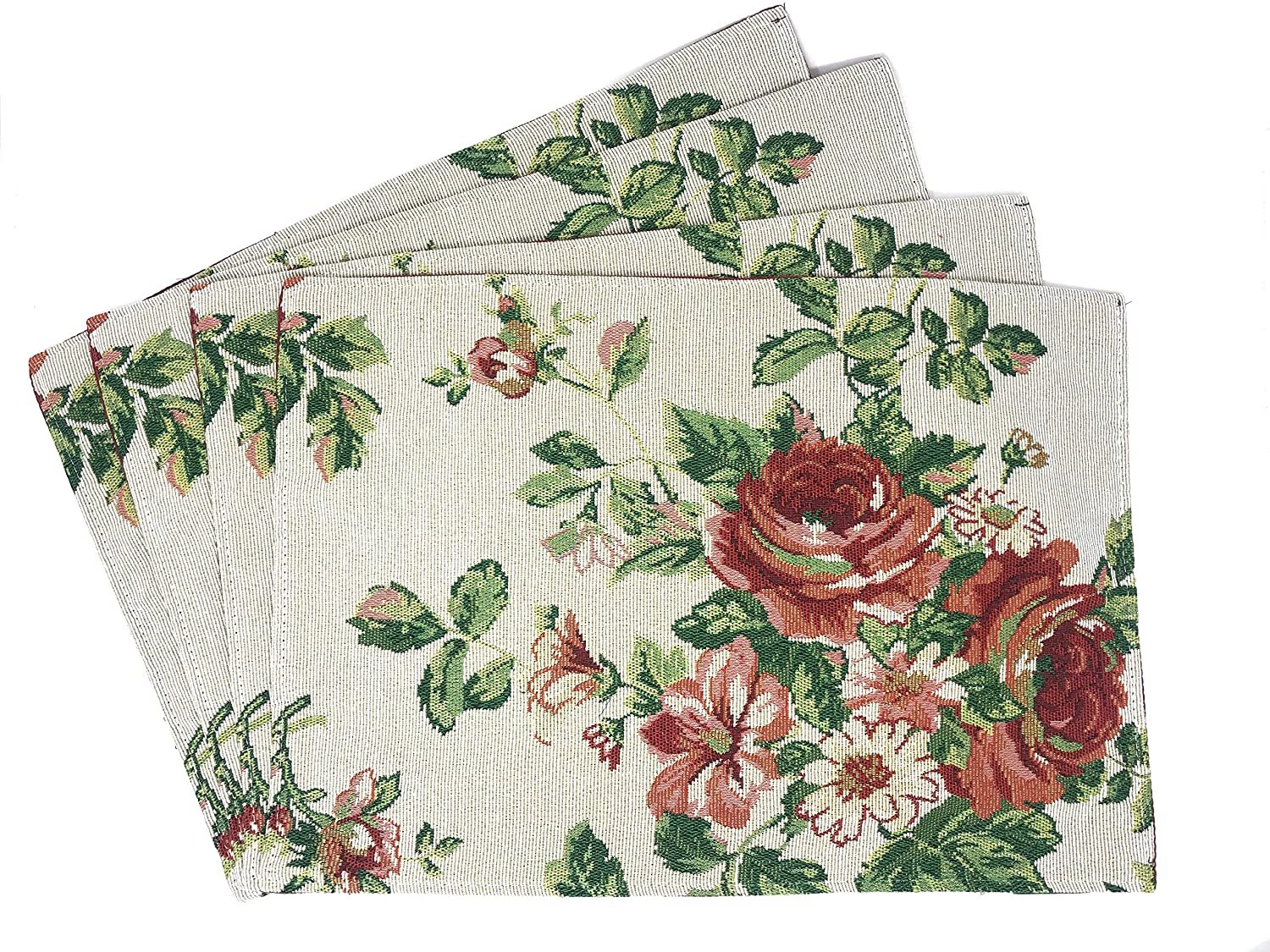 """Tache Sweet Roses Spring Summer Traditional Country Vintage White Red Floral Decorative Kitchen Dining Woven Quilted Tapestry Placemats, 13x19"""""""