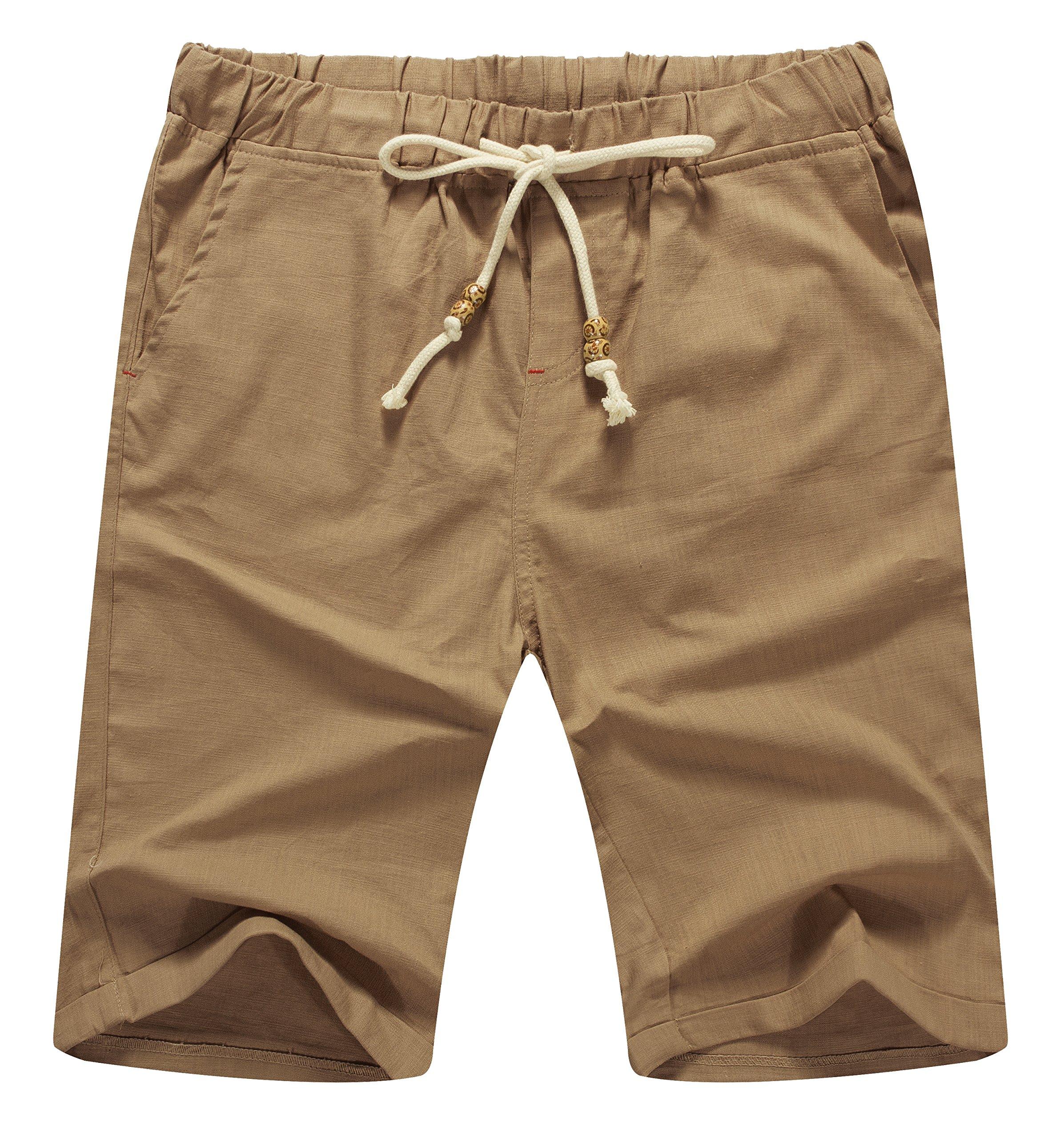 Mr.Zhang Men's Linen Casual Classic Fit Short Summer Beach Shorts Dark Khaki-US 2XL