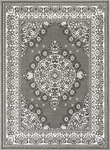Well Woven Malish Grey Traditional Oriental Medallion Area Rug 8×10 7'10″ x 9'10″