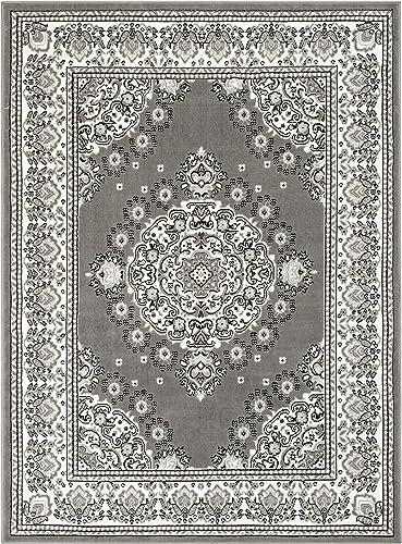 Well Woven Malish Grey Traditional Oriental Medallion Area Rug 8×10 7'10″ x 9'10″