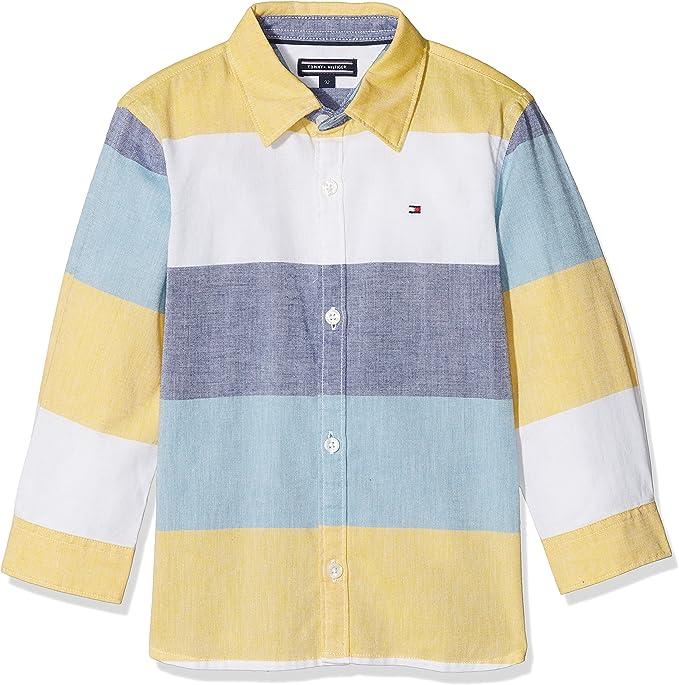 Tommy Hilfiger Colorblock Oxford Shirt L/S Blusa para Niños: Amazon.es: Ropa y accesorios