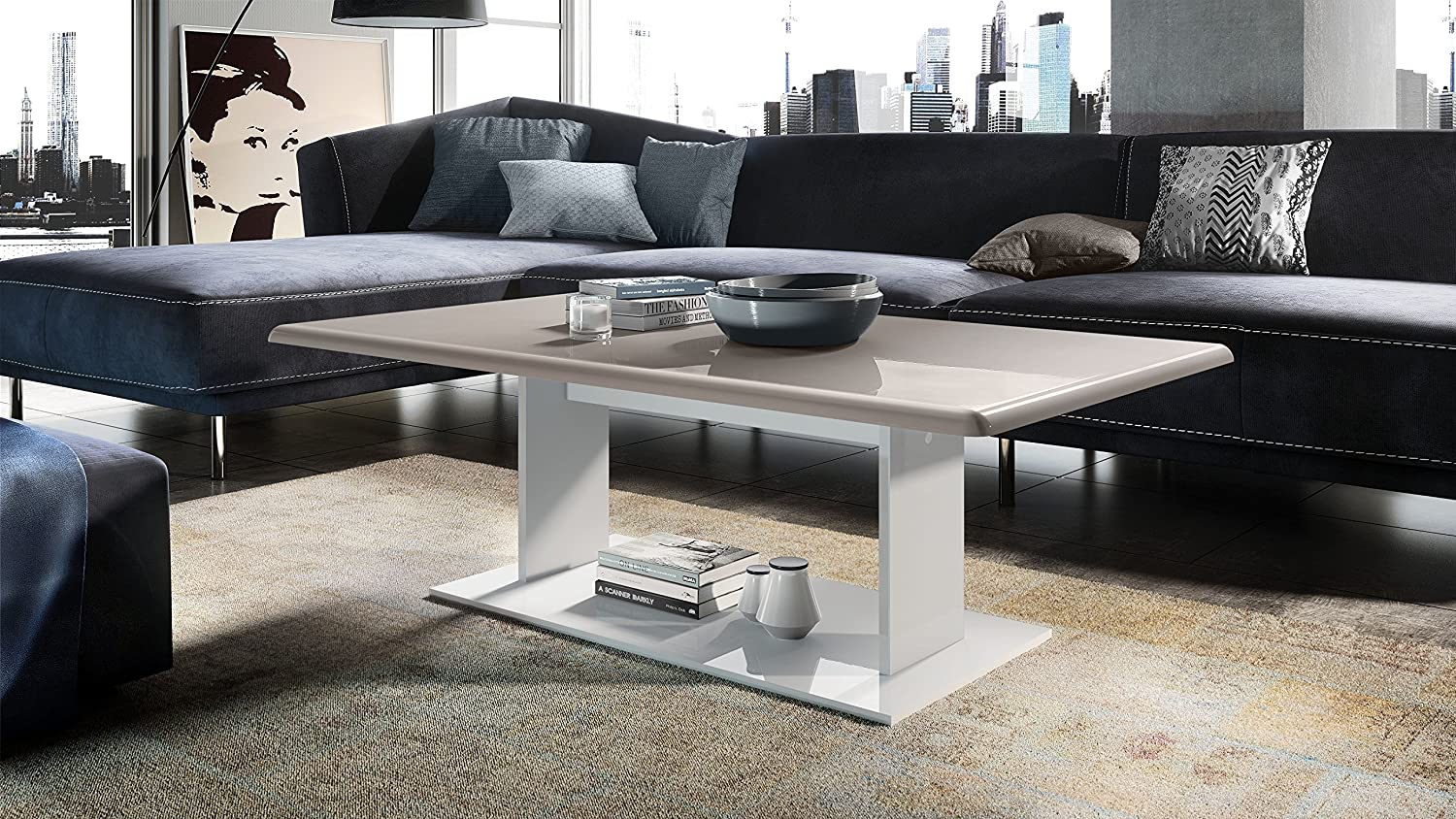 Vladon Coffee Table Side Table Mono in White with Offsets in Teal High Gloss Top in Sand Grey High Gloss