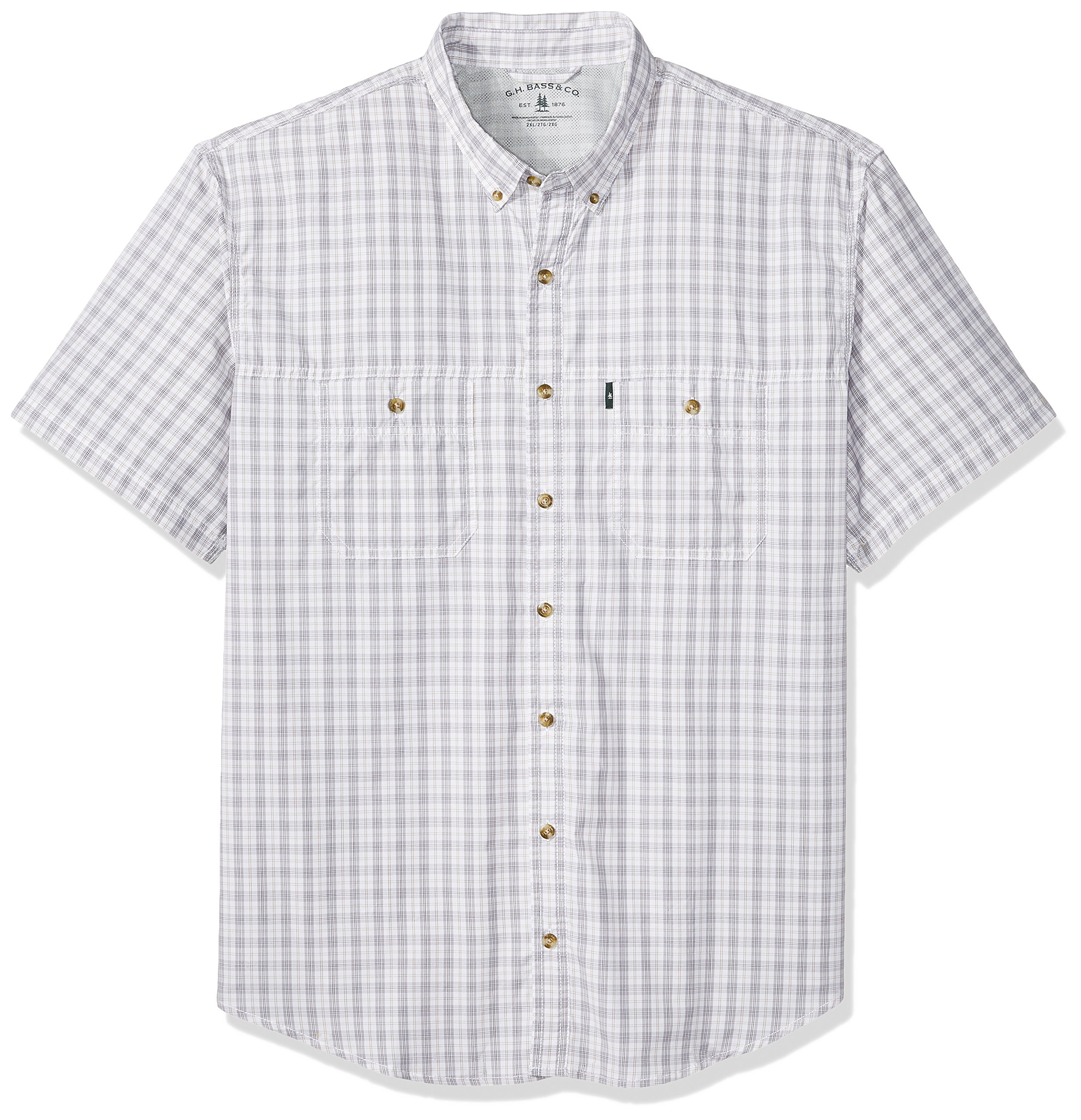 5bdff834e81 Galleon - G.H. Bass & Co. Men's Size Big And Tall Explorer Short Sleeve  Button Down Fishing Shirt, Legacy Bright White S2018, 3X-Large