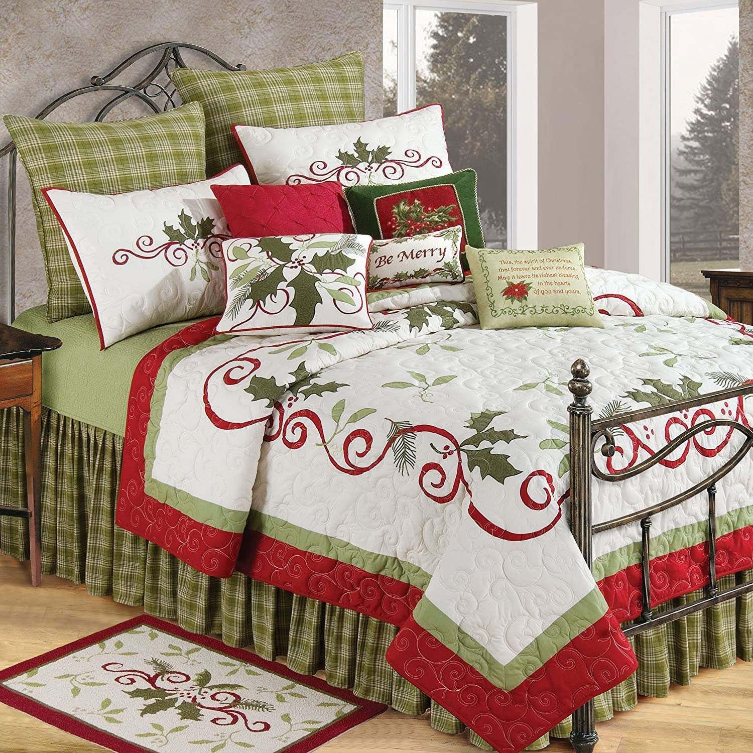 C&F Home Holiday Garland King Quilt King Green