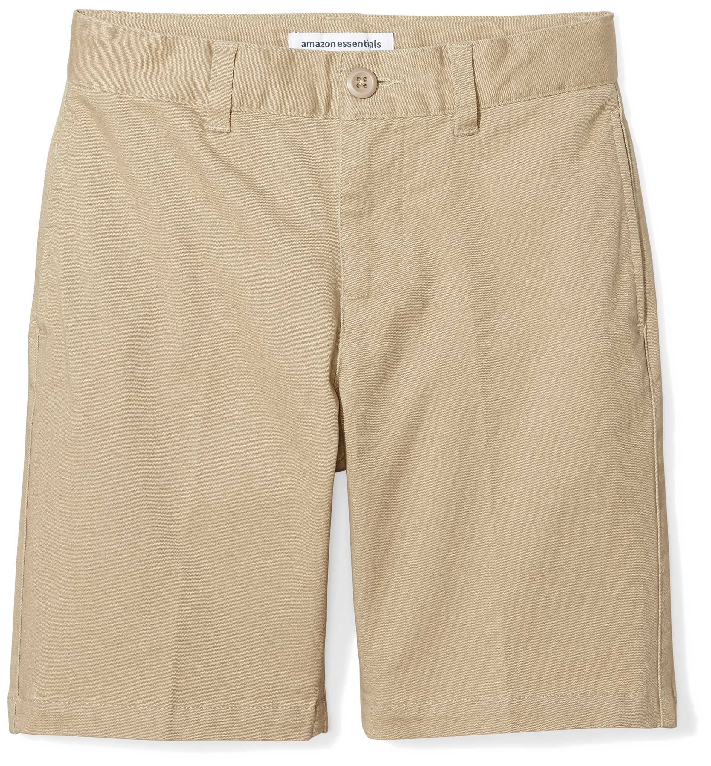 Amazon Essentials Big Boys' Flat Front Uniform Chino Short, Khaki,12