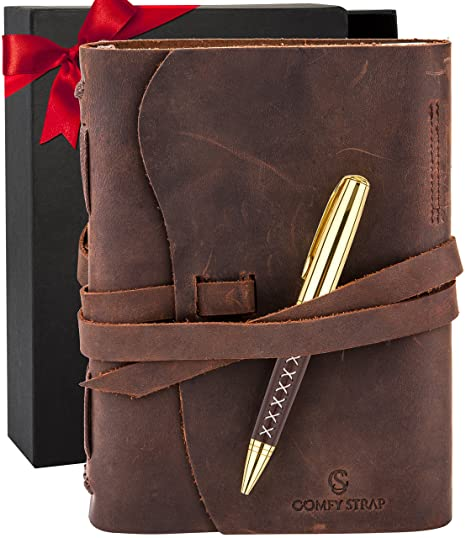 6207237552d1 Amazon.com : Leather Journal - Bound Notebook For Men & Women ...