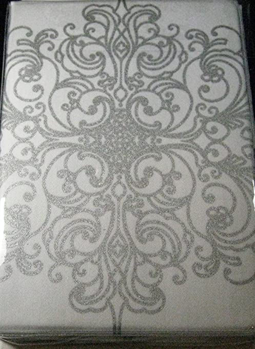 Silver Baroque Scroll Cloth Dinner Napkins Set of 4